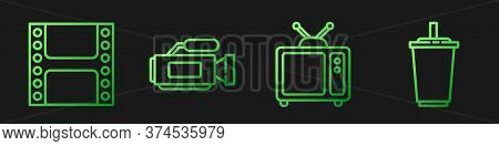 Set Line Retro Tv, Play Video, Cinema Camera And Paper Glass With Water. Gradient Color Icons. Vecto