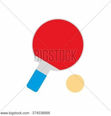 Ping Pong Racket And Ball Flat Style Icon Design, Sport Hobby Competition And Game Theme Vector Illu