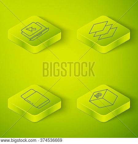 Set Isometric Layers, Eraser Or Rubber, Isometric Cube And Laptop And Cursor Icon. Vector