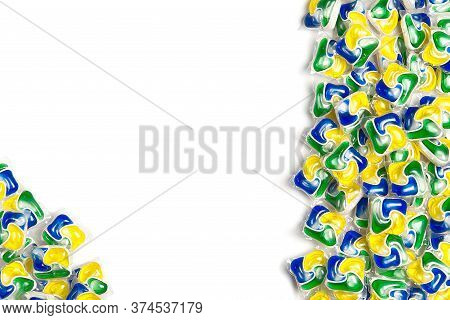 Liquid Dishwashers Capsules, Background Of All-in-one Capsules With Laundry Detergent And Dishwasher