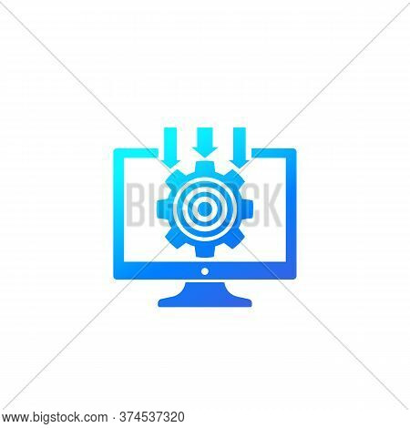 Integration System, Computer Technology Icon With Gradient