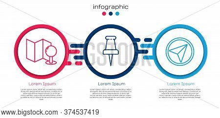 Set Line Folded Map With Push Pin, Push Pin And Infographic Of City Map Navigation. Business Infogra
