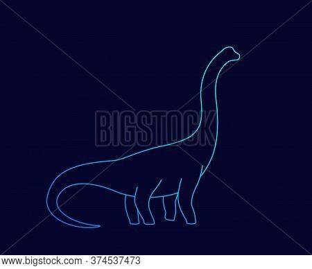 Dinosaur, Brachiosaurus Silhouette, Linear Vector, Eps 10 File, Easy To Edit