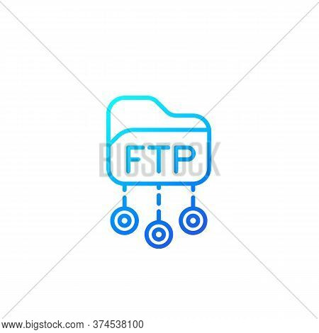 Ftp Protocol Vector Line Icon, Eps 10 File, Easy To Edit