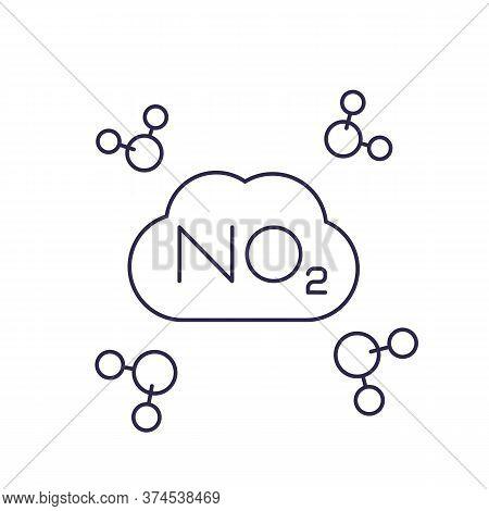 No2, Nitrogen Dioxide Molecule, Line Vector, Eps 10 File, Easy To Edit