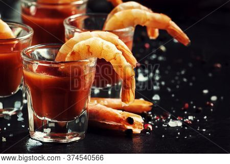 Snack With Shrimp And Spicy Tomato Cocktail, Black Kitchen Table, Selective Focus