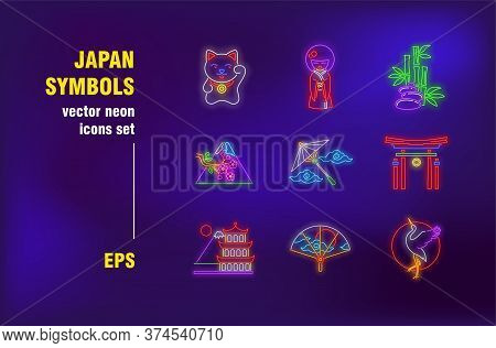 Japan Symbols Neon Signs Set. Cat, Mountain And Arch. Vector Illustrations For Luminous Billboards.