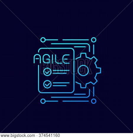 Agile Software Development Process Icon, Line Vector, Eps 10 File, Easy To Edit