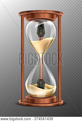 Life Is Short, Rip Concept, Hourglass With Coffins Inside And Pouring Sand. Glass Clock In Wooden Fr