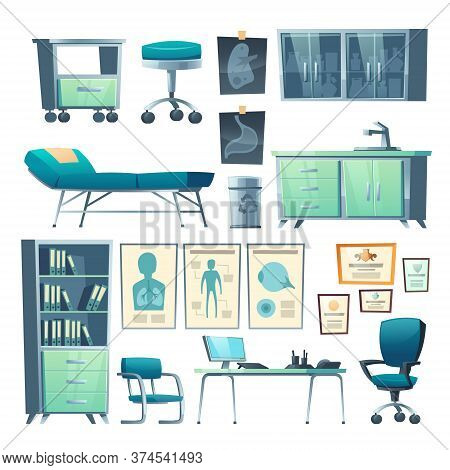 Clinic Interior, Doctor Stuff, Isolated Hospital Items Couch, Chair And Washbasin, Locker For Medici
