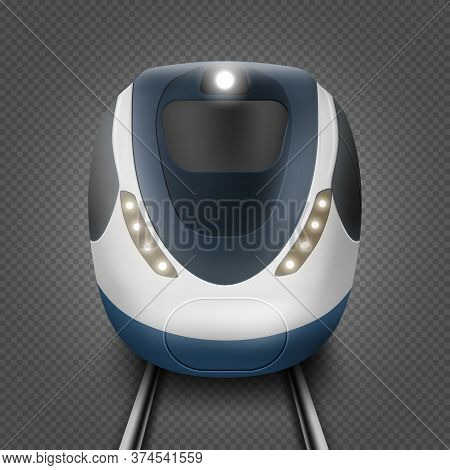 Train Or Metro, Front View, Subway Locomotive On Rails With Windshield And Illumination. Modern City
