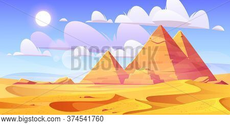 Egyptian Desert With Pyramids. Vector Cartoon Illustration Of Landscape With Yellow Sand Dunes, Anci