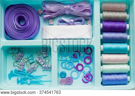 Sewing Kit Accessories And Equipment For Sewing Blue Shades. Various Sewing Accessories And Tools Fo