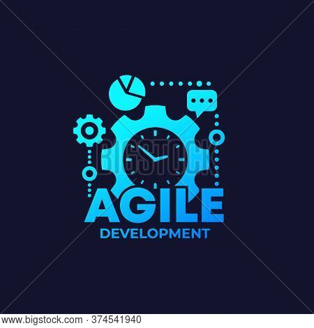 Agile Software Development Process Icon On Dark, Eps 10 File, Easy To Edit