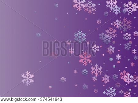 Winter Snowflakes And Circles Border Vector Graphics. Unusual Gradient Snow Flakes Isolated Flyer Ba