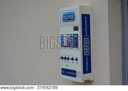 Bordeaux , Aquitaine / France - 06 20 2020 : Durex Condoms Distributor Automatic On Pharmacy Wall