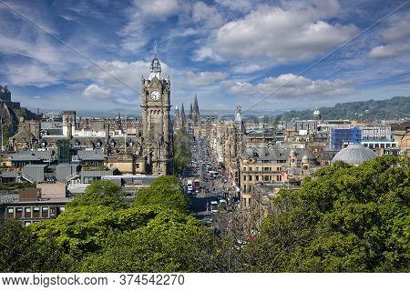 Edinburgh, Scotland - May 13, 2019:  Aerial View Of Princes Street,  One Of The Major Thoroughfares