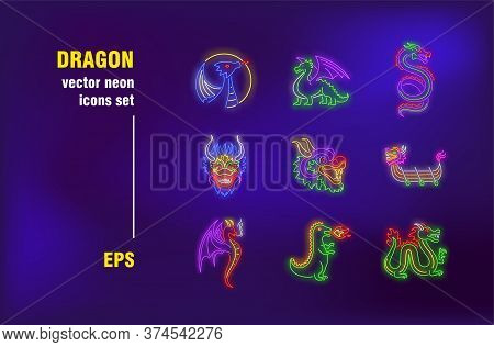 Dragon Neon Signs Collection. Fire, Creature And Flight. Vector Illustrations For Bright Billboards.