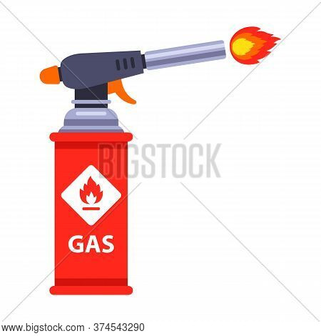 Red Gas Spray Emits A Flame. Flat Vector Illustration Isolated On White Background.
