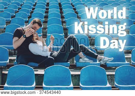 Happy Kissing Day. The Couple Kissing On The City Street. Love, Happiness, Young Family, Dating Conc