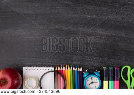 Back To School Concept. Top Above Overhead View Photo Of Apple Clock And Colorful Stationery Isolate