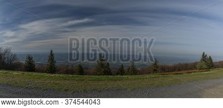 Color Spring Morning View From Pustevny In Beskydy Mountains