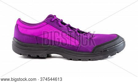 Right Cheap Purple Hiking Or Hunting Shoe Isolated On White Background