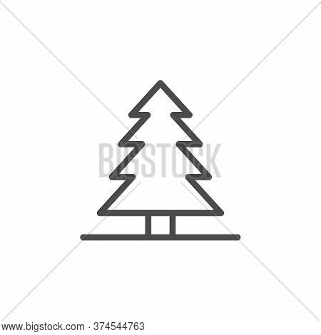 Pine Tree Line Outline Icon Isolated On White. Forest Or Wood Symbol. Evergreen Plant. Vector Illust