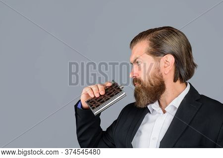 Bearded Man Drink Alcohol. Bearded Man Drink Alcohol From Metallic Flask. Alcohol Drink