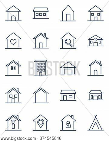 Home Line Icons Set. Homepage, Shelter, Hut, Cottage, Family Country House, Traditional Building, Ap