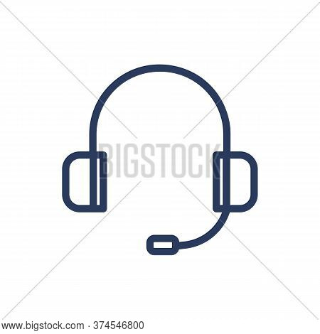 Headset Thin Line Icon. Helpline Equipment, Consultant, Speaker Isolated Outline Sign. Technology, C