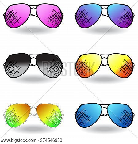 Illustration Of Sunglasses. Set Of Sunglasses. Vector