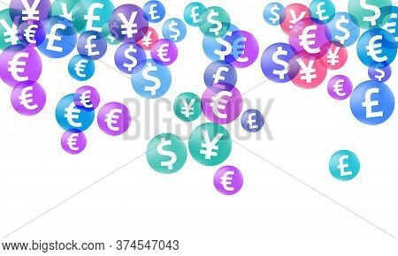 Euro Dollar Pound Yen Circle Signs Flying Money Vector Illustration. Economy Pattern. Currency Token