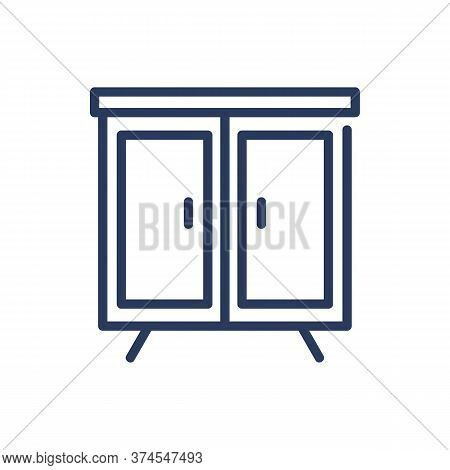 Wardrobe Thin Line Icon. Closet, Clothing, Cabinet Isolated Outline Sign. Home Interior, Furniture,