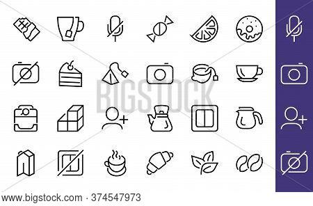 Coffee And Tea Linear Icons Set, Contains Icons Of Tea, Tea Bag, Coffee Machine, Cake, Sugar, Teapot