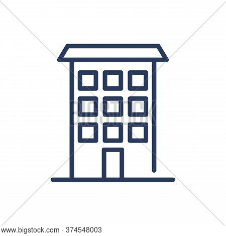 Apartment Building Thin Line Icon. Condo, Tenement House, City Isolated Outline Sign. Architecture,