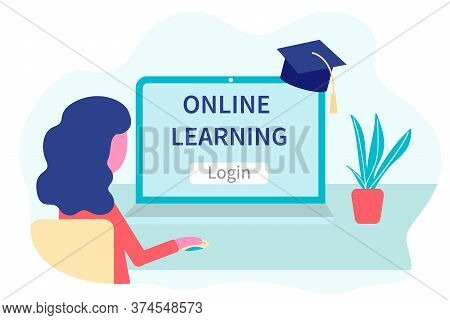 Online Learning, Distance Education Concept. Training And Courses. Woman Student Studies Courses On