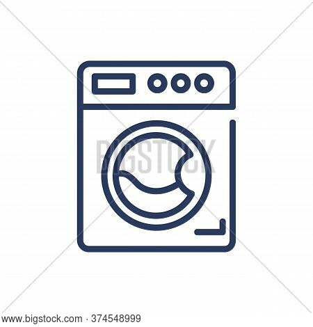 Washing Machine Thin Line Icon. Laundry, Service, Laundromat Isolated Outline Sign. Home Appliance,