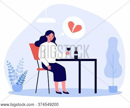 Upset Woman With Broken Heart Drinking Wine. Breakup, Heartbreak, Hurt Flat Vector Illustration. Alc