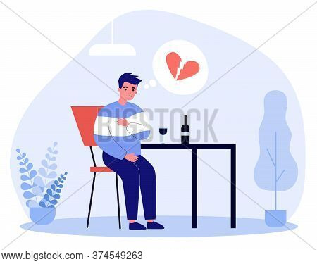 Unhappy Man With Broken Heart Drinking Wine Alone. Breakup, Heartbreak, Despair Flat Vector Illustra
