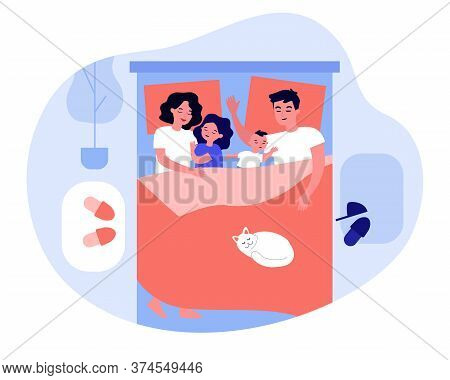 Kids Sleeping In Parents Bed. Happy Mom And Dad Lying And Hugging Asleep Children. Family Taking Nap