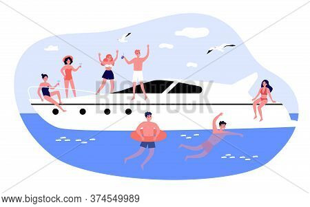 Happy Young People Enjoying Yacht Cruise. Men And Women Sailing, Enjoying Party On Luxury Boat, Swim