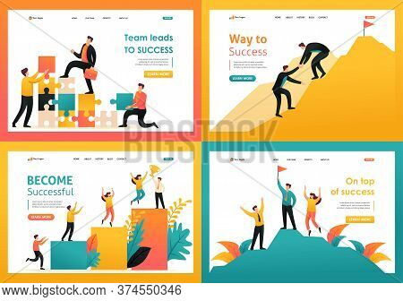 Flat 2d Illustration On The Topic Of Achieving Success As A Team, The Path To Success, Teamwork. For