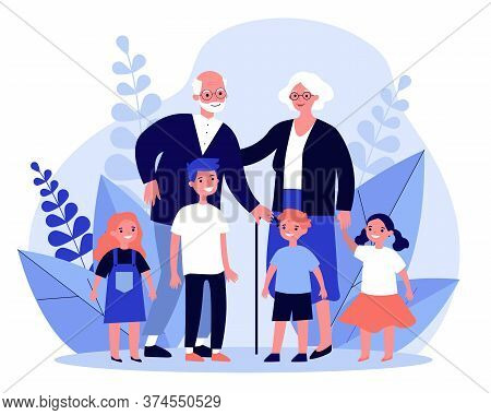 Happy Grandparents Spending Leisure Time With Grandchildren. Senior Couple And Kids Together Flat Ve