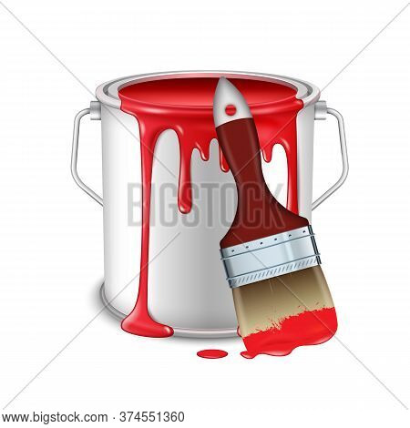An Open Tin Can With Spilled Red Paint And A Brush Smeared In Paint.