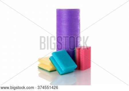 Dish Sponge. Yellow Foam Sponge For Kitchen Isolated On White. Household Clean Equipment Background.