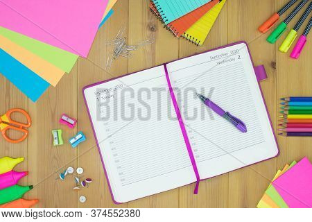 Appointment Book/diary And School Supplies. Conceptual Image
