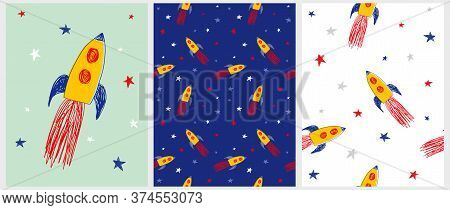Yellow Rockets Vector Illustration And Seamless Patterns. Spacecraft, Moon And Stars. Cute Infantile