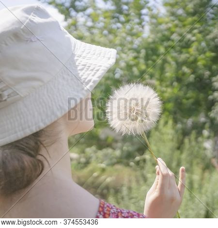 Dandelion In Hand Unknowable Teenage Girl In A Hat, Sunny Summer Day, Country Farm, Rustic Nature, R