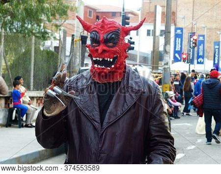 Cuenca, Ecuador - January 6, 2020: Traditional Parade Or Masquerade On Day Of The Innocents. Man In
